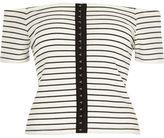 River Island Womens White stripe bardot hook and eye top
