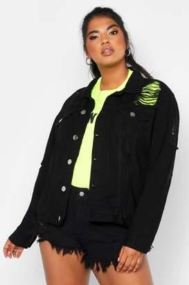 boohoo Plus Distressed Oversized Denim Jacket