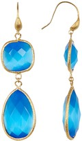Rivka Friedman 18K Gold Clad Faceted Blue Cat's Eye Crystal Bold Double Dangle Earrings