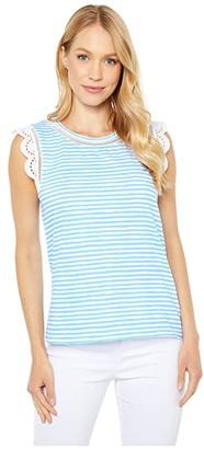 Lilly Pulitzer Agee Top (Zanzibar Blue Beach Happy Stripe) Women's Clothing
