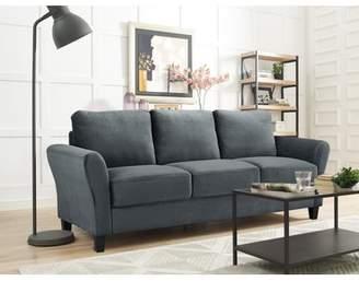 Lifestyle Solutions Alexa Rolled-Arm Sofa, Dark Grey