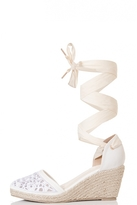 Quiz White Tie Up Espadrille Wedges