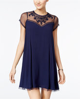 Trixxi Juniors' Embroidered Illusion Shift Dress