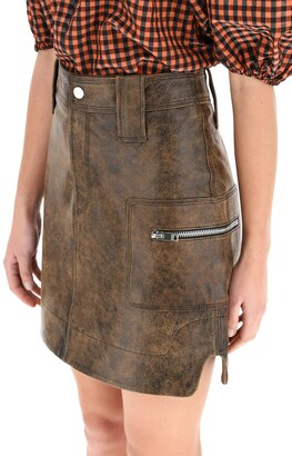 Ganni MINI SKIRT IN VINTAGE LEATHER 36 Brown Leather