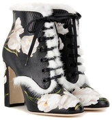 Dolce & Gabbana Fur-trimmed Printed Leather Ankle Boots
