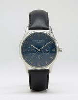 Simon Carter Black Leather Chronograph Watch With Blue Dial
