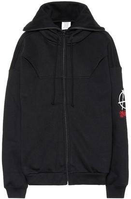 Vetements Zip-through cotton hoodie