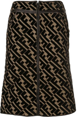 Fendi Pre Owned FF motif knee-length skirt