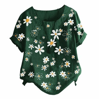 Beetlenew Womens Blouses Women Short Sleeve Tops Plus Size Vintage Boho Floral Print Tunic with Buttons Detail Daisy Pattern Casual Loose Tee Shirts Summer Beach Baggy Blouse Oversized T-Shirts UK 12-24 Orange