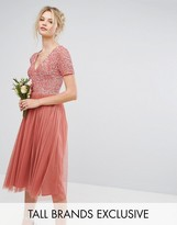 Maya Tall Plunge Neck Embelliished Top Mini Dress With Tulle Skirt