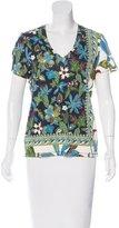 Tory Burch Abstract Print V-Neck T-Shirt