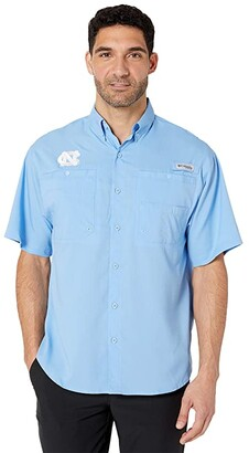 Columbia College North Carolina Tar Heels Collegiate Tamiamitm II Short Sleeve Shirt (White Cap) Men's Short Sleeve Button Up