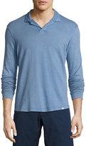 Orlebar Brown Miles Long-Sleeve Polo Shirt, Deepest Blue