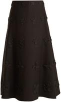 Valentino Flower-appliqué A-line wool and silk-blend skirt