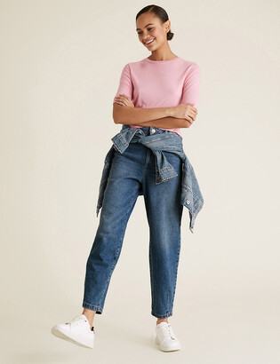 Marks and Spencer Pure Cotton High Waisted Balloon Jeans