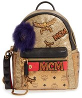MCM 'Stark Insignia' Metallic Leather Backpack With Genuine Fox Fur Trim - Metallic