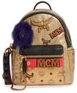 mcm stark insignia metallic leather backpack with genuine fox fur trim metallic