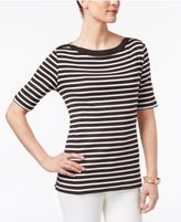 Karen Scott Striped Elbow-Sleeve Top, Only at Macy's