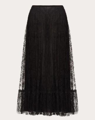 Valentino Pleated Lace Skirt Women Black 75% Poliammide, 25% Cotone 40