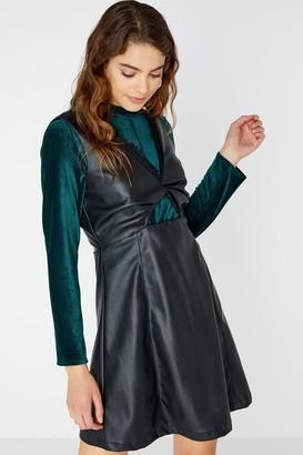 Girls On Film Olympe Twist Front Leather Dress