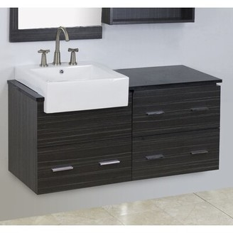 "American Imaginations 48"" Single Modern Wall Mount Bathroom Vanity Set Hardware Finish: Brushed Nickel, Faucet Mount: Single"