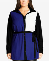 City Chic Trendy Plus Size Colorblocked Tunic Shirt