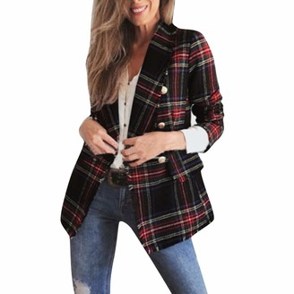 Quintra Women Women Blazer QUINTRA Ladies Autumn Winter Plaid Long-Sleeved Double-Sided Faux Fur Woolen Sweater Cardigan Women's Jacket Work Office Lightweight Open Front Jackets Blazer Red