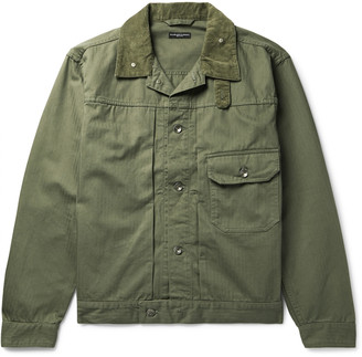 Engineered Garments Camp-Collar Corduroy-Trimmed Herringbone Cotton-Twill Trucker Jacket