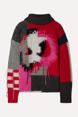 McQ Monster Patchwork Intarsia Wool-blend Turtleneck Sweater - Gray
