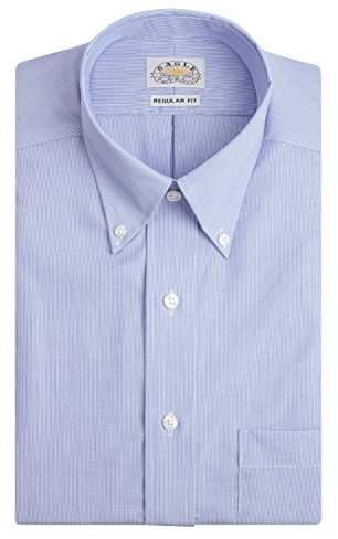 Eagle Men's Non Iron Regular Fit Stripe Button Down Collar Dress Shirt