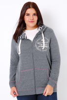 Yours Clothing Westrock Bay Blue Marl Zip Up Hoodie
