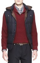 Brunello Cucinelli Hooded Flannel Puffer Vest