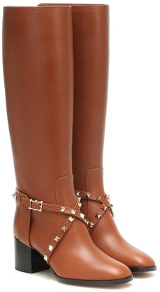 Valentino Rockstud Riding leather knee high boots