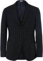 Massimo Alba - Navy Slim-fit Gingham Linen Blazer