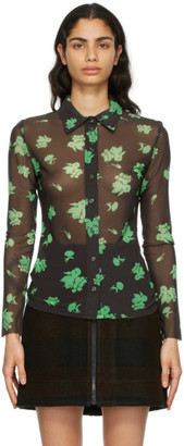 Ganni Brown and GreenMesh Printed Shirt