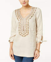 Charter Club Linen Embellished Tunic, Created for Macy's