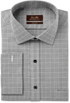 Tasso Elba Men's Classic/Regular Fit Charcoal Glenplaid French Cuff Dress Shirt, Only at Macy's