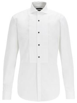 Slim-fit evening shirt with easy-iron finishing