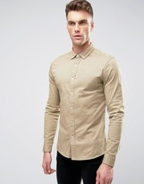 Asos Super Skinny Twill Shirt In Stone