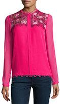 Elie Tahari Luna Silk Blouse w/ Floral Appliqué;, Pink