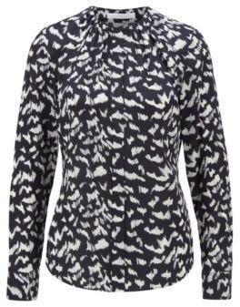 HUGO BOSS Collarless regular-fit blouse in printed silk
