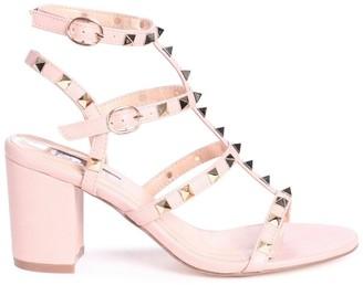Linzi Tessa Nude Studded Block Heeled Sandals