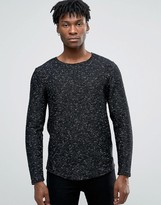 ONLY & SONS Longline Sweater With Curved Hem In Fleck