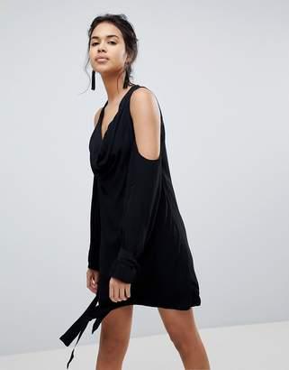 Keepsake Twin Peaks Tie Sleeve Cold Shoulder Dress-Black