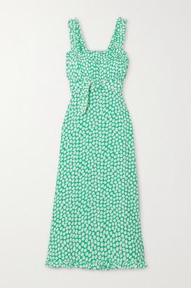 Faithfull The Brand Saint Tropez Belted Ruffled Floral-print Crepe Midi Dress - Green