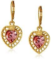 Swarovski 1928 Jewelry Gold-Tone Pink Genuine Crystal Gold Frame Heart Drop Earrings
