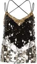 River Island Womens Black sequin disc embellished cami top