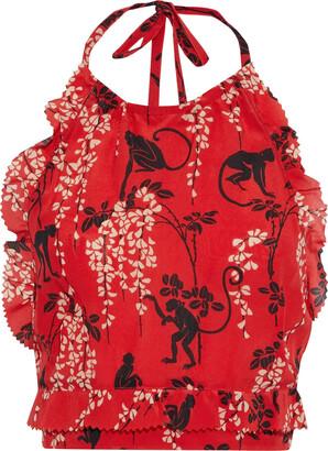 RED Valentino Cropped Printed Silk Crepe De Chine Halterneck Top