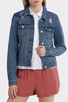 Only Darcy Long Sleeve Star Mix Patch Denim Jacket