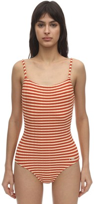 Solid & Striped Nina Striped Ribbed One Piece Swimsuit